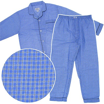 Blue Check Flannel Pajamas for men