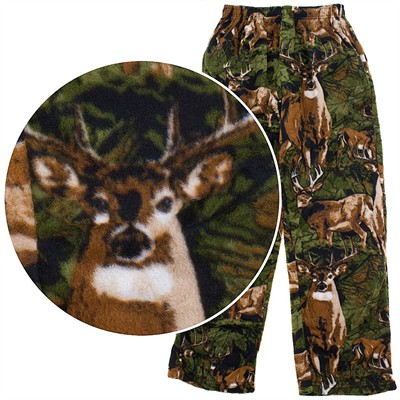 Fun Boxers Deer Montage Fleece Pajama Pants for Men