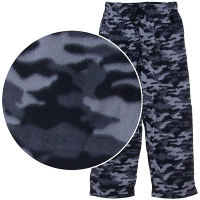 Gray Camouflage Fleece Lounge Pants for Men