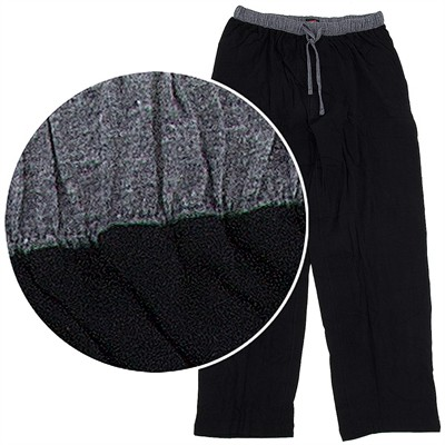 Hanes Black Cotton Knit Pajama Pants for Men