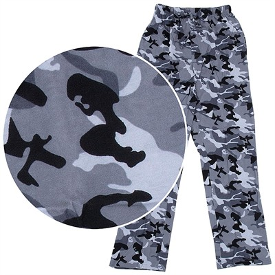 Hanes Black Gray Camo Cotton Knit Pajama Pants for Men