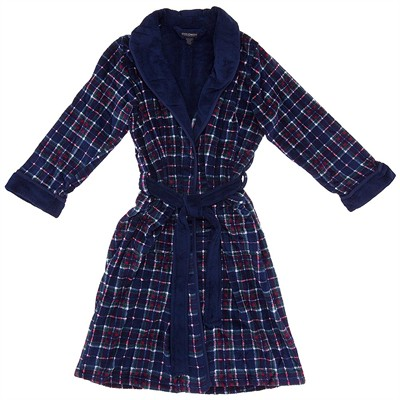 State O Maine Blue Plaid Plush Robe for Men