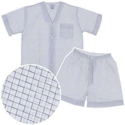 Gray Checked Short Pajamas for Men