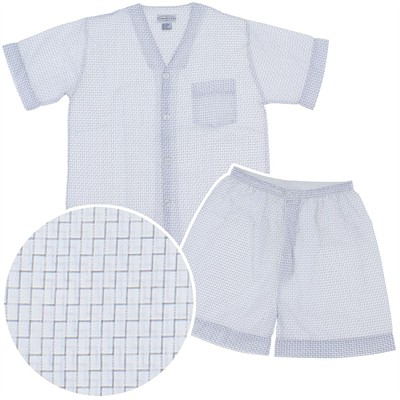 Gray Geometric Print Short Pajamas for Men