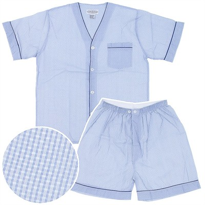 Light Blue Checked Short Pajamas for Men
