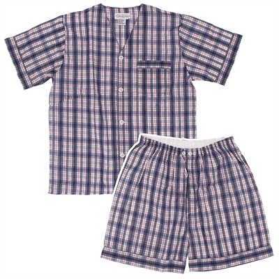 Navy and Red Plaid Short Pajamas for Men