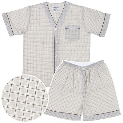 Tan Plaid Short Pajamas for Men