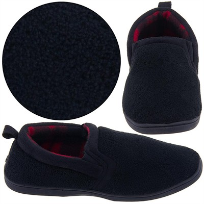 Dockers Black Terry Slippers for Men with Red Plaid Lining