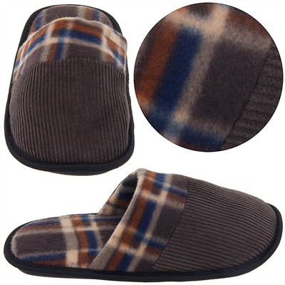 Brown Plaid Corduroy Slippers for Men