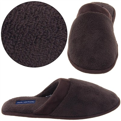 Brown Terry Slip On Slippers for Men