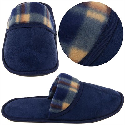Navy and Brown Plaid Slippers for Men