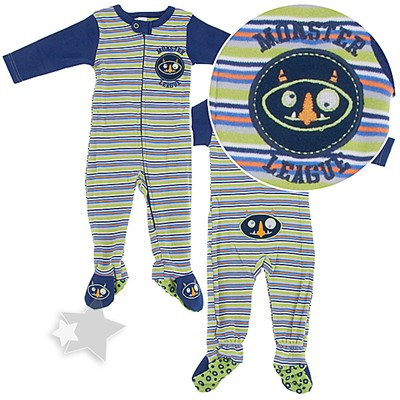 Monster Cotton Footed Sleeper Pajamas for Baby Boys