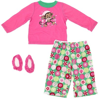 Pink Monkey Pajamas for Infant and Toddler Girls
