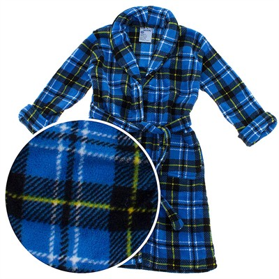 Blue Plaid Plush Bath Robe for Toddler Boys