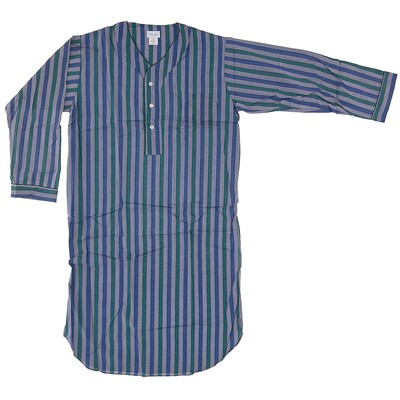 Gray Striped Woven Nightshirt for Big Men