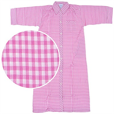 Pink Plaid House Coat for Women