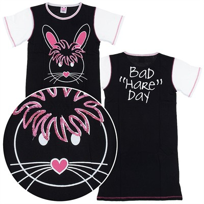 Black Bad Hare Day Nightshirt for Women