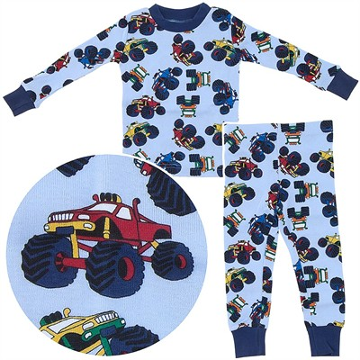 Agabang Monster Truck Organic Cotton Pajamas for Toddlers and Boys