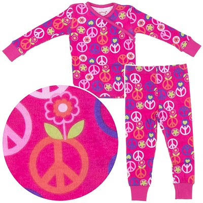 Agabang Peace Signs Organic Cotton Pajamas for Toddlers and Girls