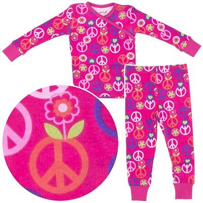 Agabang Peace Signs Organic Cotton Pajamas for Toddler Girls