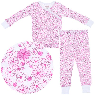Agabang Pink Floral Organic Cotton Pajamas for Toddlers and Girls