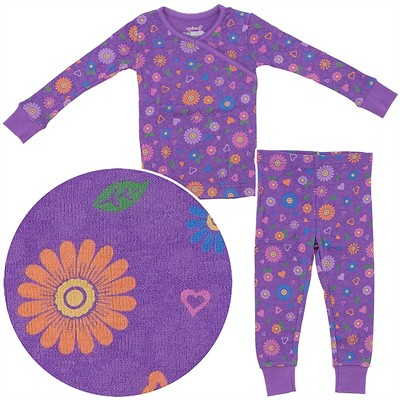 Agabang Purple Floral Organic Cotton Pajamas for Toddlers and Girls
