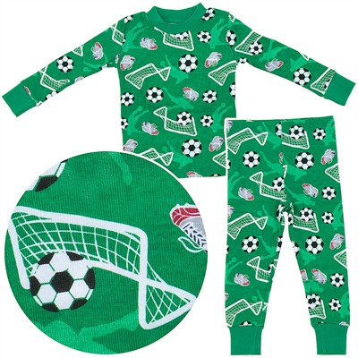 Agabang Soccer Organic Cotton Pajamas for Toddlers and Boys