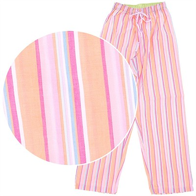 Pink Striped Poplin Pajama Pants for Women
