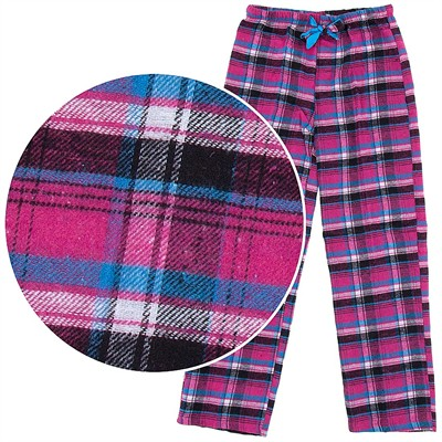 Fuchsia Plaid Flannel Pajama Pants for Women