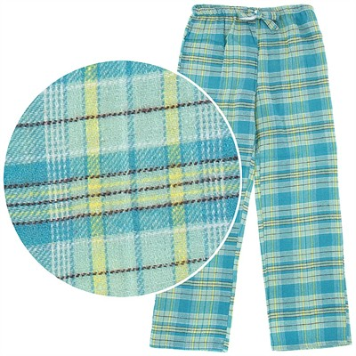Turquoise Plaid Flannel Pajama Pants for Women