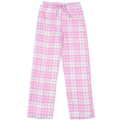 Pink and White Plaid Flannel Pajama Pants for Women