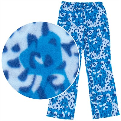 Blue Leopard Print Fleece Pajama Pants for Women