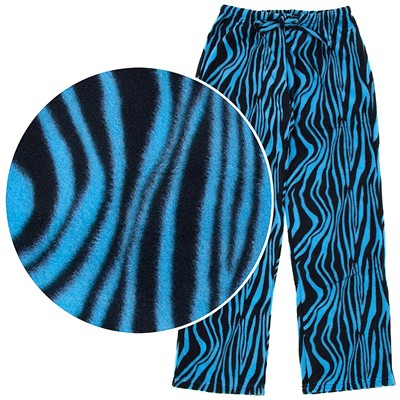 Blue Zebra Print Fleece Pajama Pants for Women