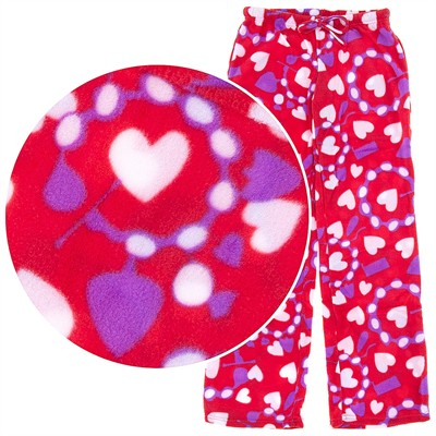 Red Heart Print Fleece Pajama Pants for Women