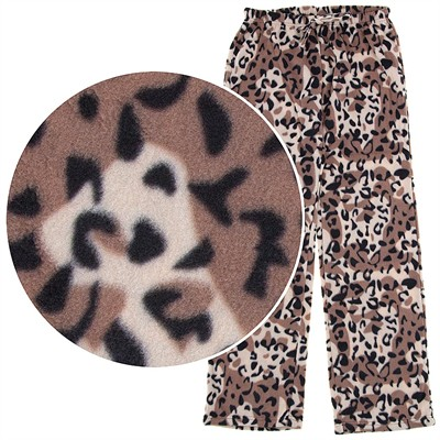 Leopard Print Fleece Pajama Pants for Women