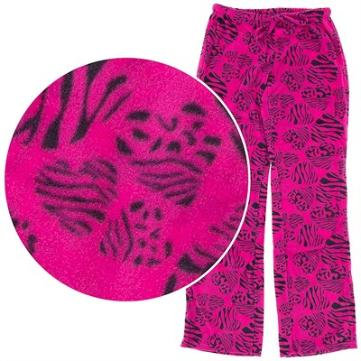 Magenta Zebra Heart Fleece Pajama Pants for Women