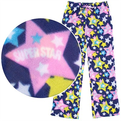 Navy Star Print Fleece Pajama Pants for Women