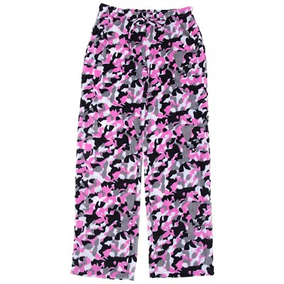 Pink and Black Camo Fleece Pajama Pants for Women