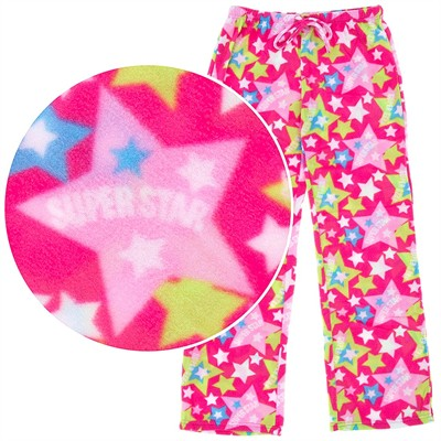 Pink Star Print Fleece Pajama Pants for Women