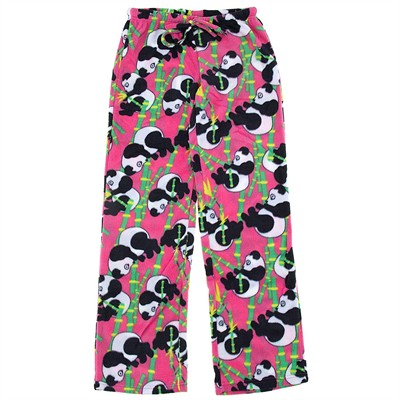 Bright Pink Panda Fleece Pajama Pants for Women