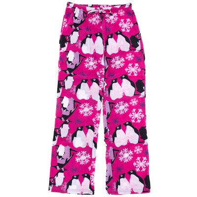 Pink Penguin Fleece Pajama Pants for Women