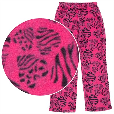 Pink Zebra Heart Fleece Pajama Pants for Women