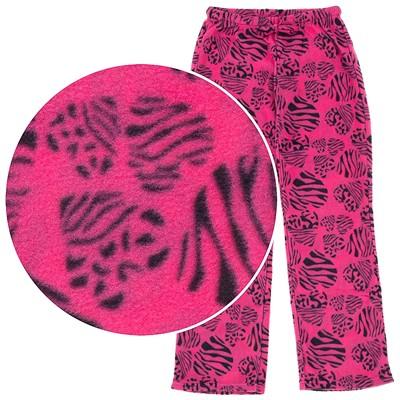 Pink Zebra Heart Fleece Pajama Pants for Women