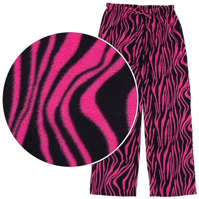 Fuchsia Zebra Print Fleece Pajama Pants for Women