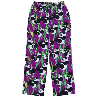 Purple Panda Fleece Pajama Pants for Women