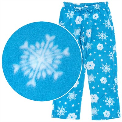 Blue Snowflake Fleece Pajama Pants for Women