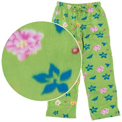 Green Floral Fleece Pajama Pants for Women