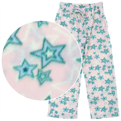 Pink Star Fleece Pajama Pants for Women