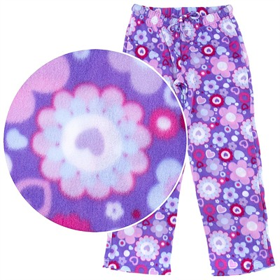 Purple Floral Snowflake Pajama Pants for Women