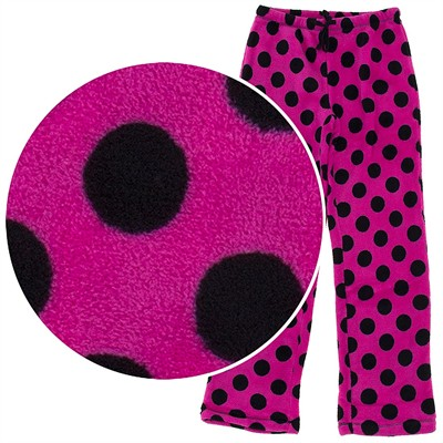 Black and Pink Polka Dot Plush Pajama Pants for Juniors